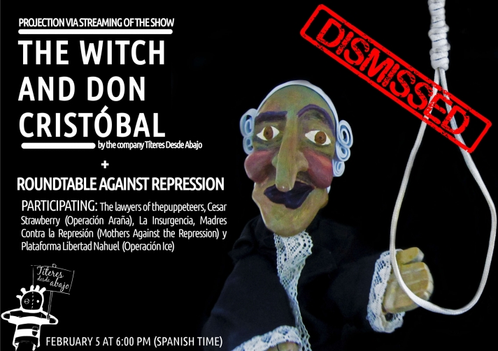 "Κυρ, 5 Φεβρουαρίου, 18:30 – 21:30 Projection via streaming of the show ""The witch and don Christobal"""